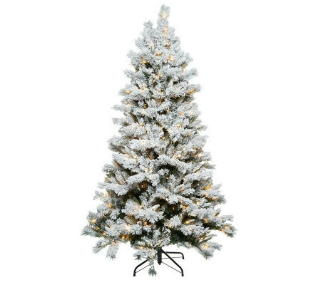 Santa's Best 6.5' Flocked Sherwood Spruce Christmas Tree w/ Easy Power