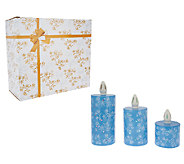 Temp-tations S/3 Porcelain Candle Luminaries with Gift Box - H203490