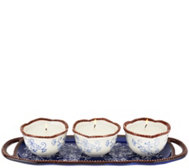 Shp 9/15 Temp-tations (3) 4 oz Ceramic Candles w/ Serving Tray