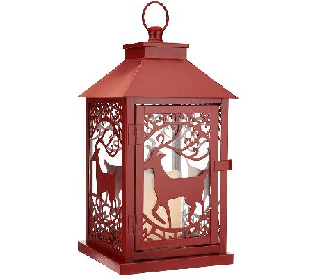 """As Is"" Dennis Basso 14"" Metal Holiday Lantern with Flameless Candle w/Timer — QVC.com"
