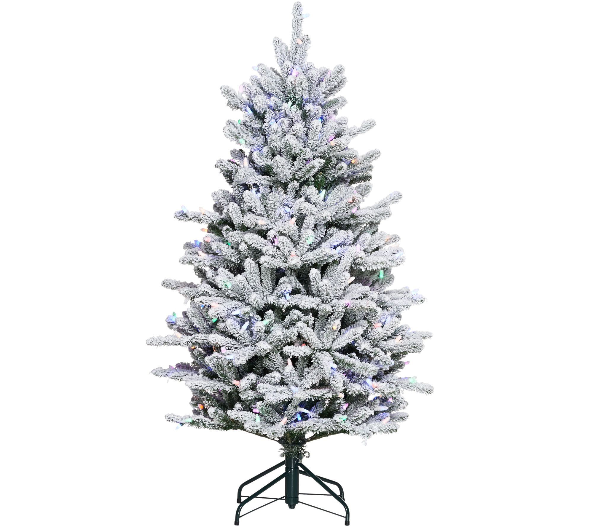 Santa s Best 5 RGB 2 0 Flocked Balsam Fir Christmas Tree