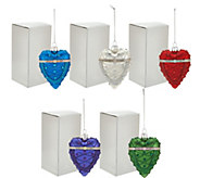 Set of 5 Heart or Egg Ornaments with Gift Boxes by Valerie - H208690