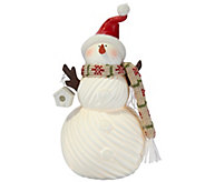 Kringle Express 11 Porcelain Snowman with Fabric Scarf Luminary - H208790