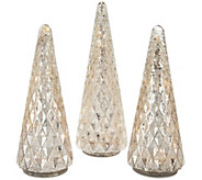 Set of 3 Illuminated Diamond Pattern Trees by Valerie - H209790