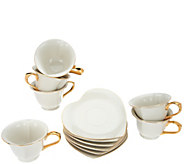 Yedi Inside Out Heart Set of 6 6.5oz Tea Cup & Saucer Set - H213090