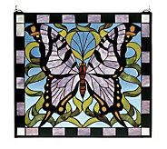 Meyda Tiffany Style Purple Butterfly Window Panel - H123491