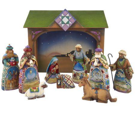 Jim Shore Heartwood Creek Set Of 10 Mini Nativity Set