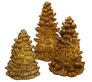Set of 3 Flameless Glitter Tree Candles w/Timer by Valerie - H201291