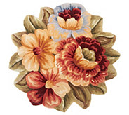 Royal Palace Floral Bouquet 33  Round Wool Rug - H201791