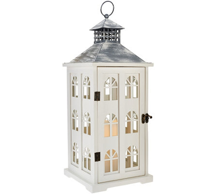 Dennis Basso 18 Wooden Village Lantern with Flameless Candle w/Timer