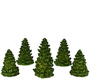 As Is Set of 5 Illuminated Glitter Wax Trees by Valerie - H207491