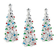 As Is Set of 3 Ceramic Trees with Bells by Valerie - H207591