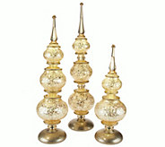 Set of 3 Illuminated Sparkle Sequin Finials by Valerie - H208691
