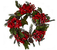 22 Glitter Velvet Hydrangea and Pinecone Wreath - H209591