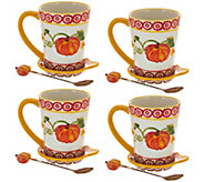 As Is Temp-tations Set of 4 Figural Mugs with Spoon - H210591