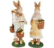 Set of (2) Bunny Figurines with Vintage Crackle Finish by Valerie - H213791
