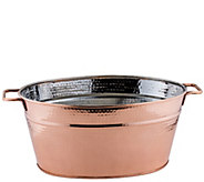 Old Dutch Hammered Copper-Plated Oval BeverageTub - H288091