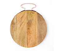 Twos Company Set of 2 Cheese Boards with Copper Handles - H293491