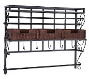 Canton Wall Mount Craft Storage Rack w/Baskets-Black - H187292