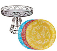 Temp-tations Floral Lace Wire Cake Pedestal with (4) 11 Trivets - H208592