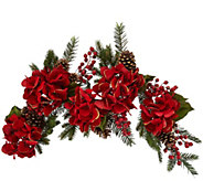 4 Glitter Velvet Hydrangea and Pinecone Garland - H209592