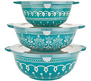 Cooks Essentials Savannah 3-pc Ceramic Bowls with Lids - H211392