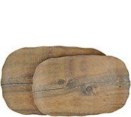 Marble or Wood Melamine 2-Piece Platter Set - H213892