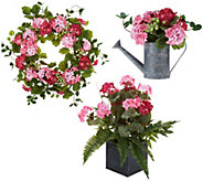 Choice of Geranium Berry Watering Can Wreath/Planter By Valerie - H216192