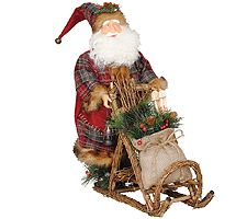 "20"" Patchwork Santa w/ Mushing Sled by Santa'sWorkshop"