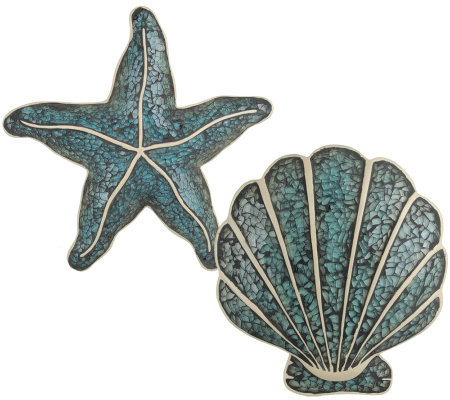 Mosaic Crackled Glass Seashell and Star-Fish Wall Art