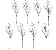 Set of 8 18 Iced Glimmer Branch Picks - H205993