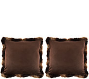 Dennis Basso Set of 2 Faux Fur Pillows with Trim - H209693