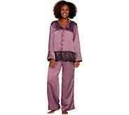 As Is Casa Zeta-Jones Faux Silk Pajama Set w/Lace Trim - H215893