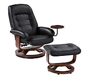 Cromwell Black Leather Recliner and Ottoman - H348893