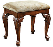 Powell Jamestown Deep Cherry-Finished Bench w/Beige Seat - H354393
