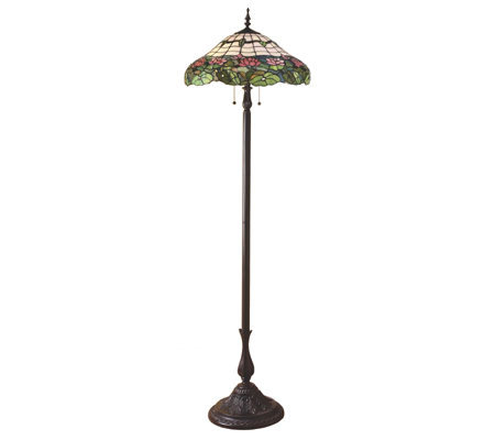 Handcrafted tiffany style glistening pond 64 1 2quot floor for Tiffany floor lamp qvc