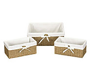 Household Essentials Seagrass Utility Baskets -Set of 3 - H142594