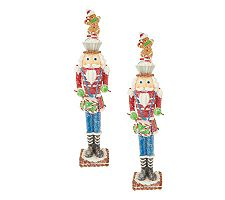 """Set of 2 16"""" Sugared Nutcracker Figurines by Valerie"""