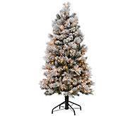 As Is Kringle Express_Flocked 5 Winter Slim Christmas Tree - H208194