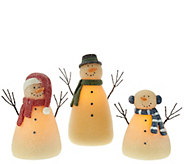 3-piece Illuminated Snowman Family by Candle Impressions - H208394