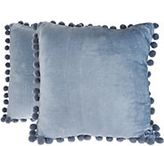 Isaac Mizrahi Live! Home Set of 2 Dec Pillows with Pom Poms - H209294