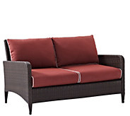 Crosley Kiawah Outdoor Wicker Love Seat with Sangria Cushions - H289494