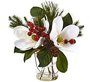 Magnolia, Pine, and Berry in Glass Vase by Nearly Natural - H290594
