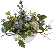 Hydrangea Centerpiece Flower Arrangment by Nearly Natural - H295694