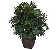 Double Bamboo Palm with Decorative Planter by Nearly Natural - H357394
