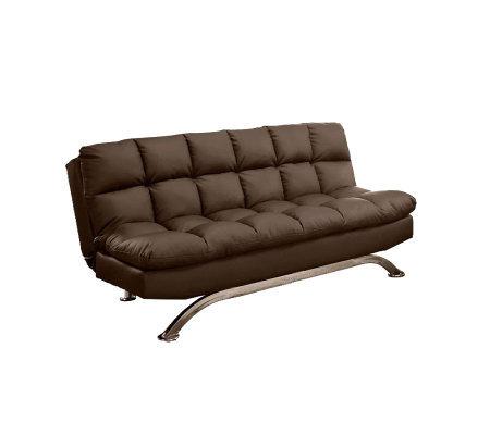 Aristo ii faux leather futon sofa qvccom for Qvc sofa bed