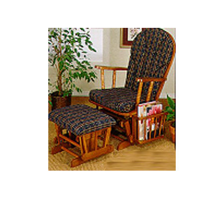 Powell Nostalgic Oak Finish Glider Rocker - Blue Plaid
