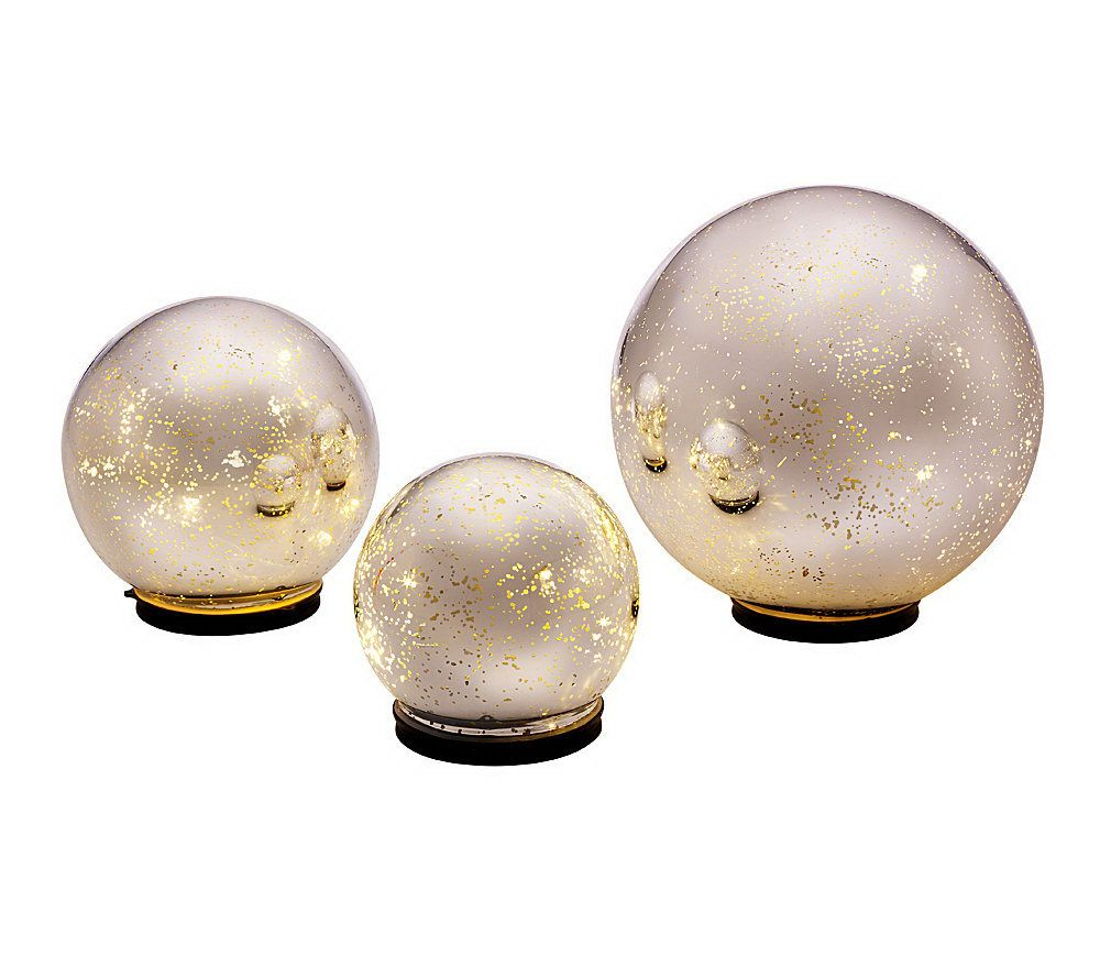 Outdoor Lighted Spheres Set of 3 lit indoor outdoor mercury glass spheres wtimer by valerie set of 3 lit indoor outdoor mercury glass spheres wtimer by valerie page 1 qvc workwithnaturefo