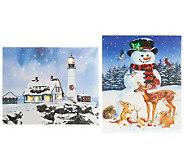 As Is Illuminart Set of 2 Christmas Canvas Art with Built-in Easel - H201895