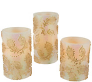 Set of 3 Embossed Flameless Candle Pillars by Valerie - H205495